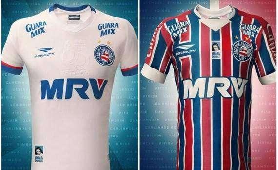 Os novos uniformes do Bahia para a temporada 2016 foram lançados no  amistoso comemorativo deste sábado (23) f5b62555aeba2